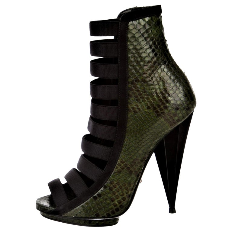 New Gucci Python Olympia S/S 2014 Runway Nicki Minaj Heels Booties Boots Sz 37.5 For Sale