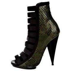 New Gucci Python Olympia S/S 2014 Runway Nicki Minaj Heels Booties Boots Sz 37.5