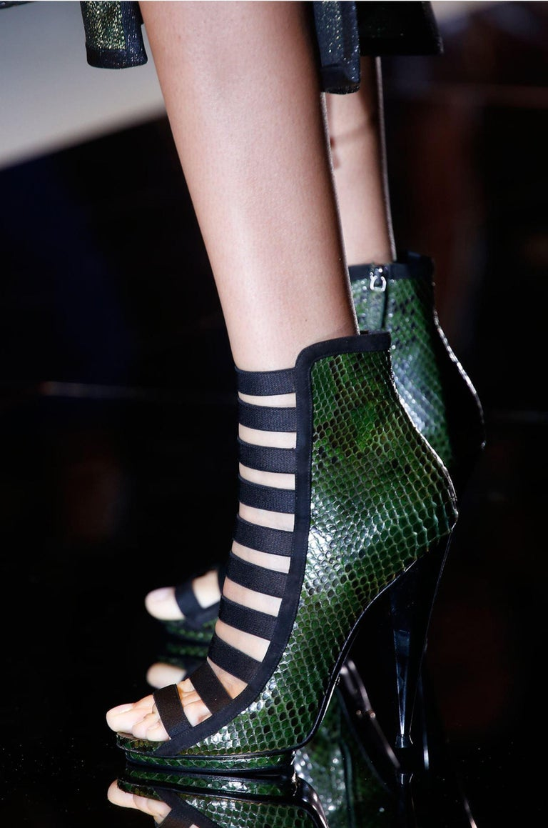 Black New Gucci Python Olympia S/S 2014 Runway Nicki Minaj Heels Booties Boots Sz 38 For Sale