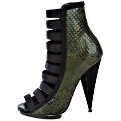 New Gucci Python Olympia S/S 2014 Runway Nicki Minaj Heels Booties Boots Sz 38