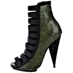 New Gucci Python Snakeskin S/S 2014 Runway Nicki Minaj Heels Booties Boots Sz 38