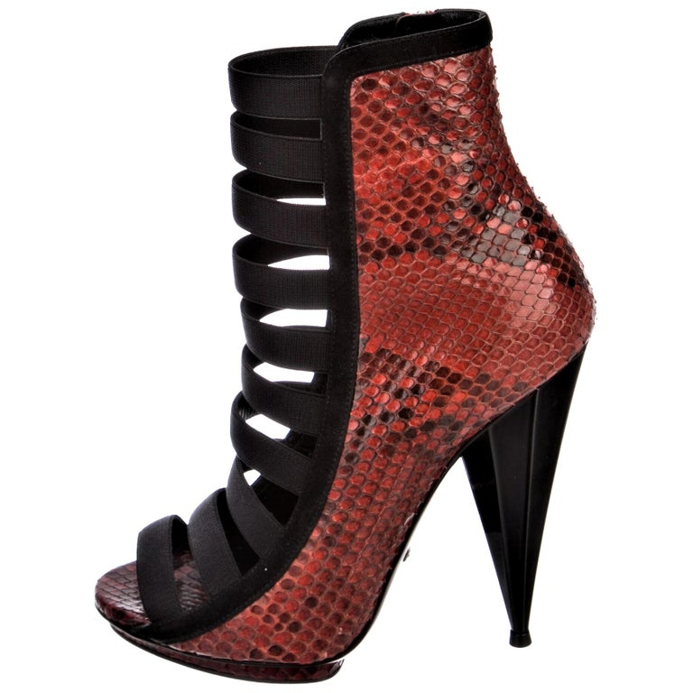 New Gucci Python Snakeskin S/S 2014 Runway Nicki Minaj Heels Booties Boots Sz 38 For Sale