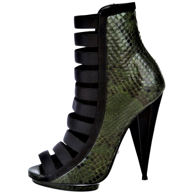 New Gucci Python Snakeskin S/S 2014 Runway Nicki Minaj Heels Booties Boots Sz 38 For Sale
