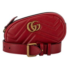 New Gucci Red Leather Logo Fanny Pack Belt Bag with Box