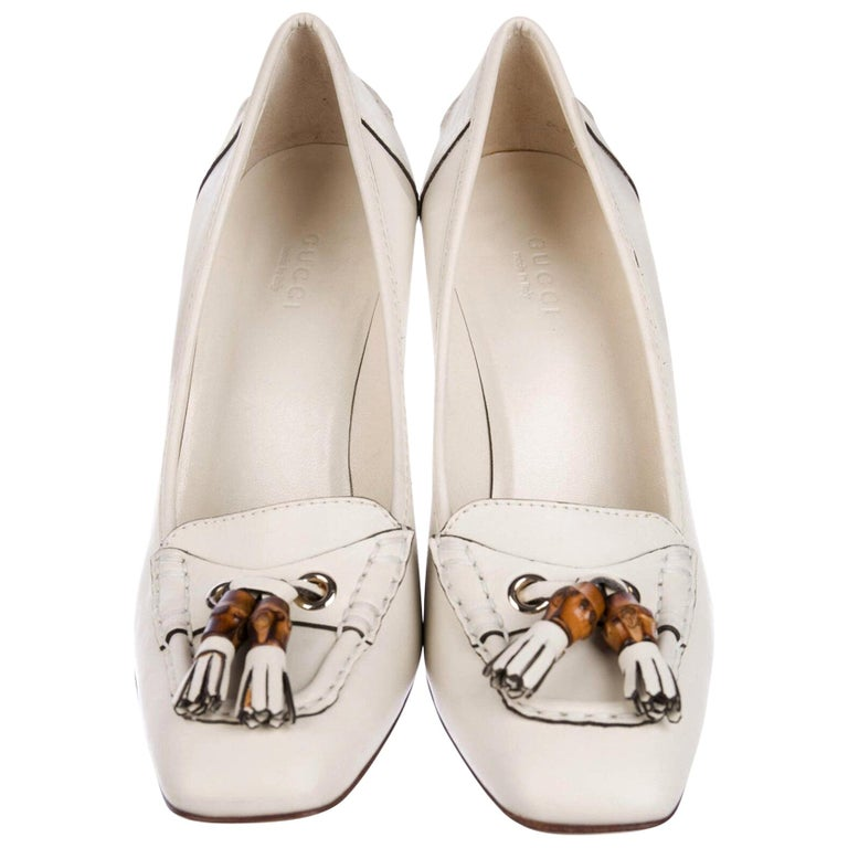 New Gucci Resort 2007 Winter White Leather Bamboo Tassel Heels Pumps Sz 7.5 For Sale