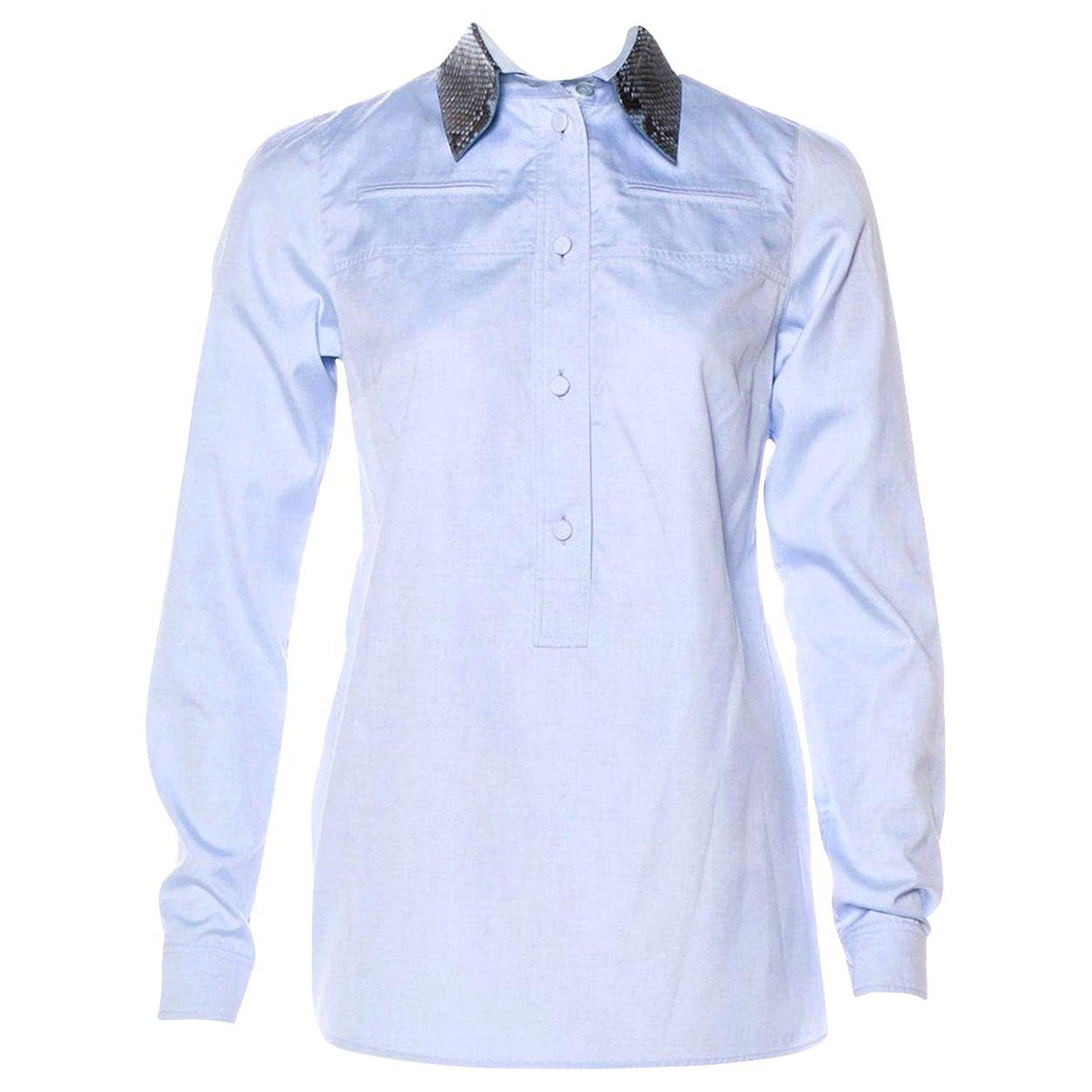 New Gucci Resort 2015 Python & Cotton Shirt Top Blouse Tunic Sz 42 $1275
