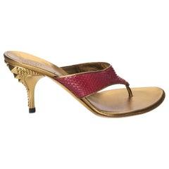 New Gucci Runway Python Snakeskin Gold Heel Mules Sz 6.5