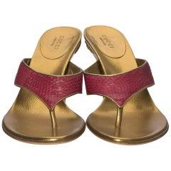 New Gucci Runway Python Snakeskin Gold Heel Mules Sz 7.5