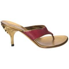 New Gucci Runway Python Snakeskin Gold Heel Mules Sz 6