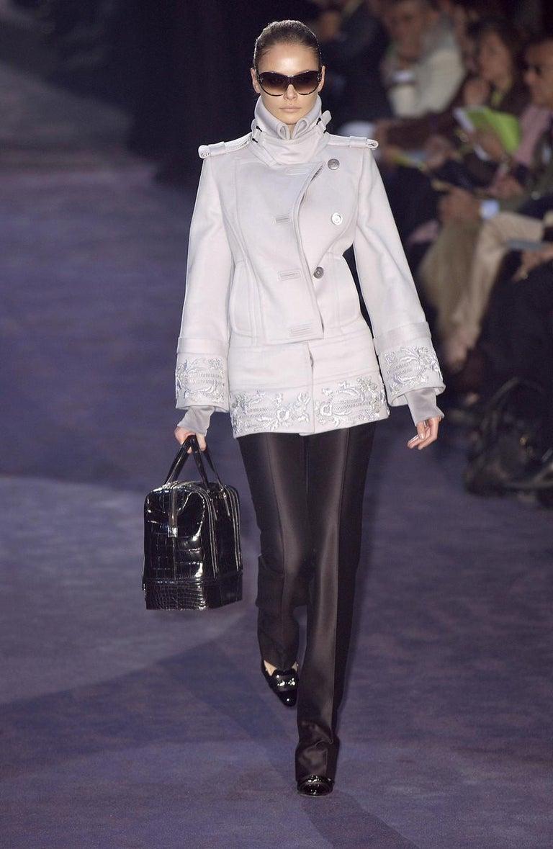 Women's New Gucci Runway Suede Brocade Buckle Heels Sz 36.5 For Sale