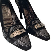 New Gucci Runway Suede Brocade Buckle Heels Sz 37
