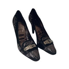 New Gucci Runway Suede Brocade Buckle Heels Sz 37.5