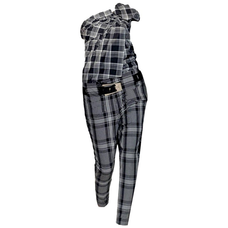 New Gucci Runway Wool Plaid Pants Slacks Sz 44 For Sale
