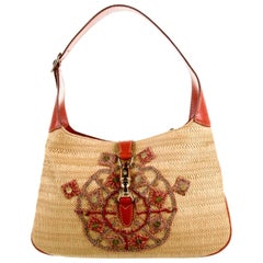 NEW Gucci Signature Woven Straw & Leather Shoulder Bag with Sequins & Embroidery