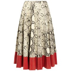 New GUCCI Snake Effect Leather Midi Skirt IT38 US 2-4