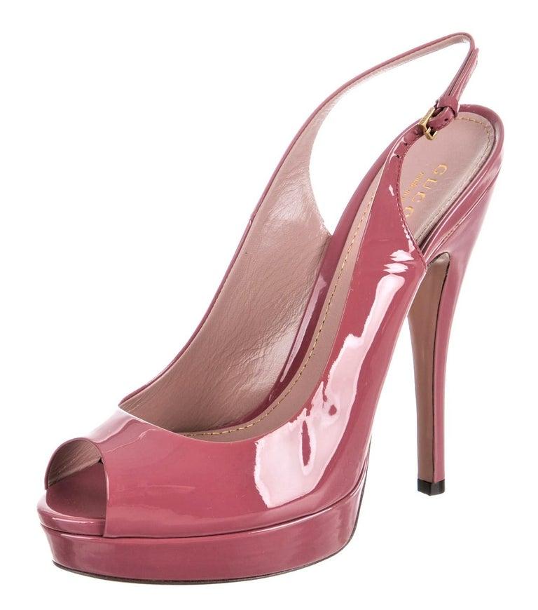 Brand New Stunning Gucci Patent Leather Heels Runway & Ad Size: 38 Stunning Blush Raspberry Pink Heels: 6