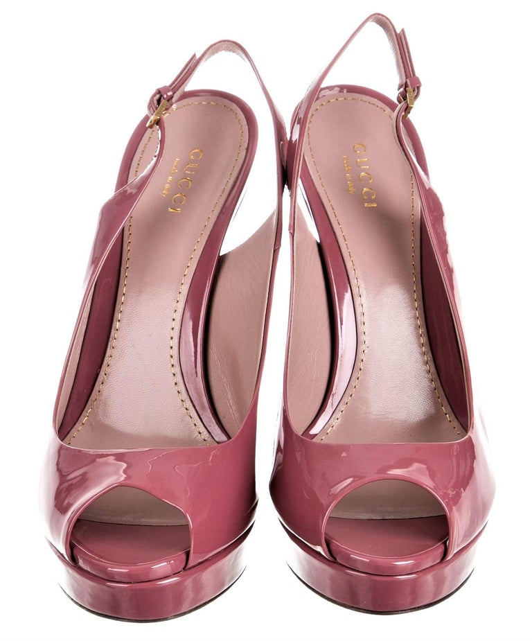 New Gucci Stunning Blush Pink Patent Leather Heels Pumps Sz 38 In New Condition For Sale In Leesburg, VA
