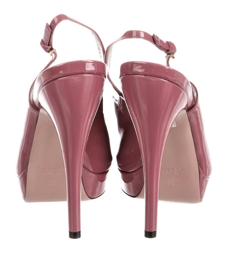 Women's New Gucci Stunning Blush Pink Patent Leather Heels Pumps Sz 38 For Sale