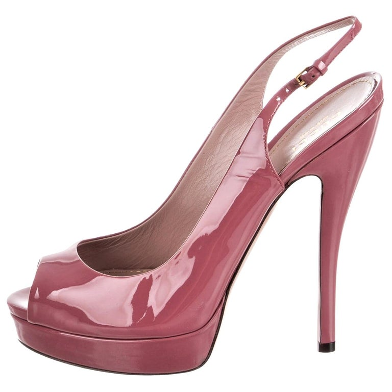 New Gucci Stunning Blush Pink Patent Leather Heels Pumps Sz 38 For Sale