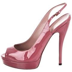 New Gucci Stunning Blush Pink Patent Leather Heels Pumps Sz 38
