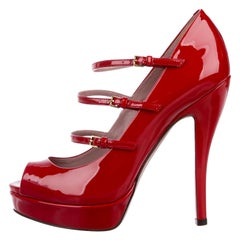 New Gucci Stunning Cherry Pop Red Patent Leather Heels Pumps Sz 36.5