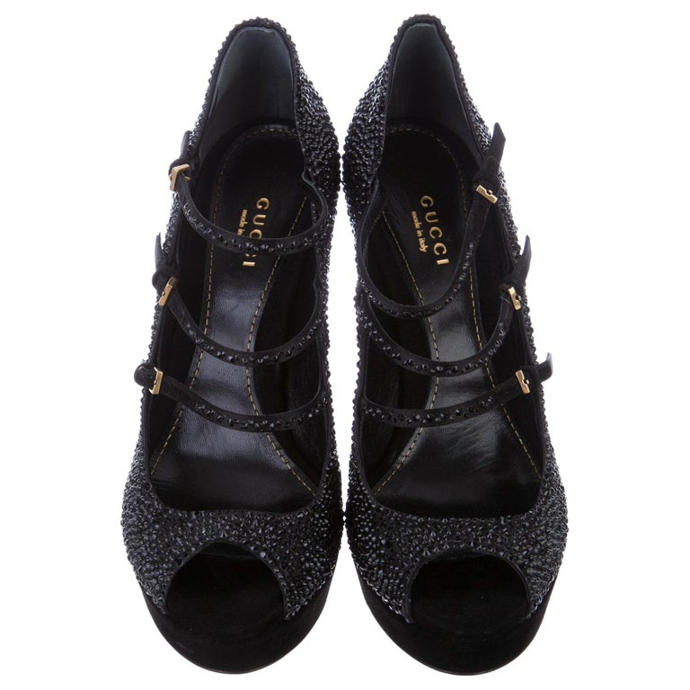 New Gucci Stunning Crystal & Suede Leather Platform Heels Pumps Sz 38 For Sale