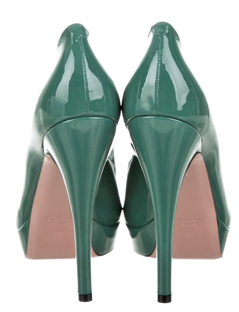 Brand New Stunning Gucci Patent Leather Heels Runway & Ad Size: 38 Sage Green Heel 5.25