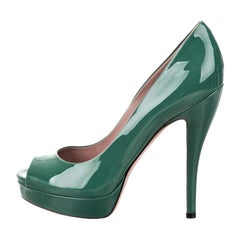New Gucci Stunning Green Patent Leather Heels Pumps Sz 38
