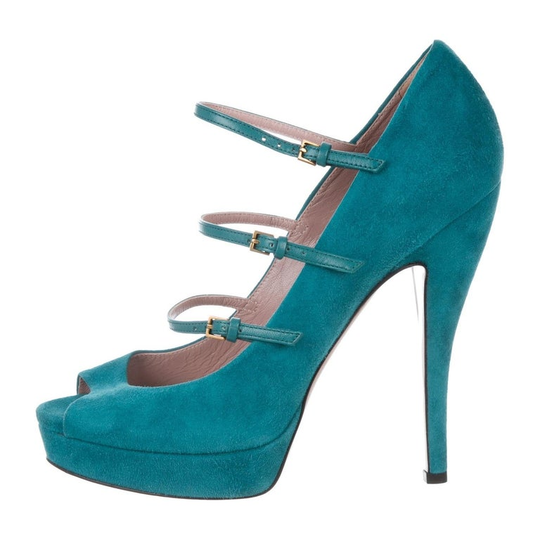 Brand New Gucci Suede Leather Heels Runway & Ad Size: 38 Turquoise Heel 5