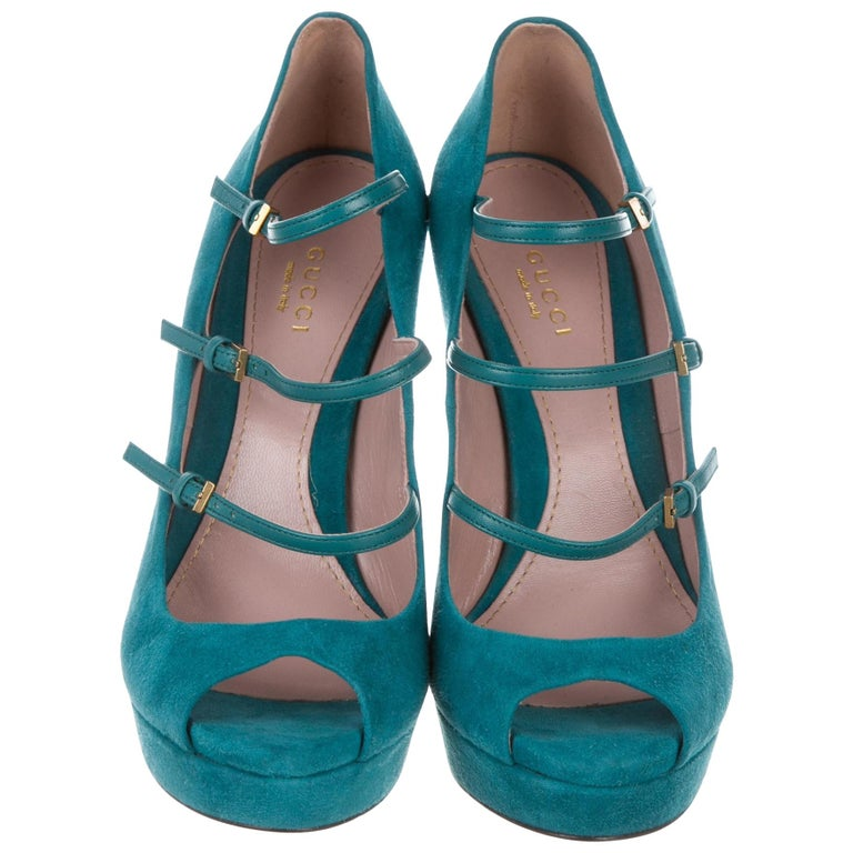 New Gucci Stunning Turquoise Suede Leather Platform Heels Pumps Sz 38 For Sale