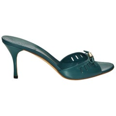 New Gucci Teal Kitten Mule Heels Sz 10