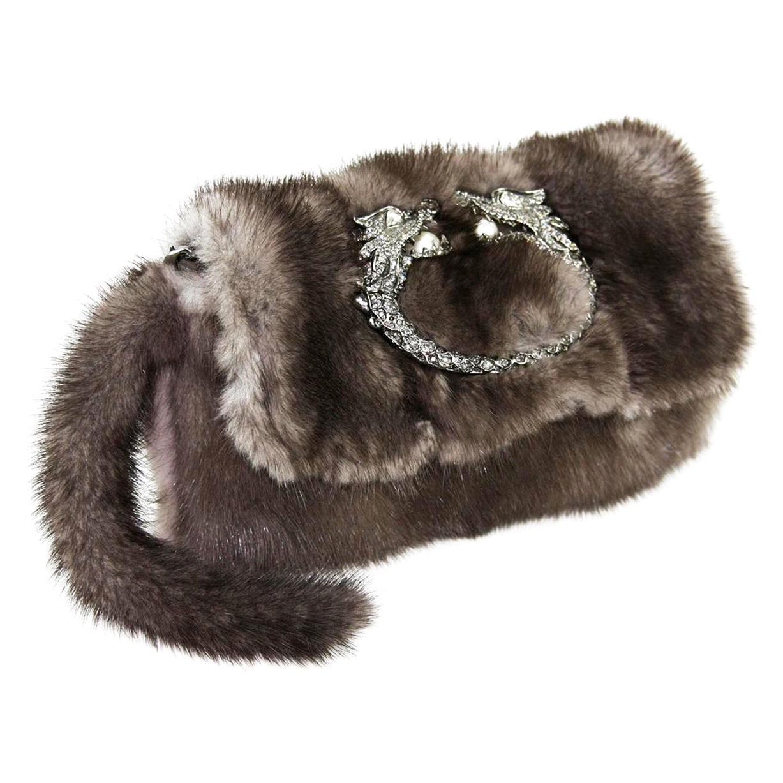 NEW Gucci Tom Ford FW 2004 Dragon Pearl Jeweled Mink Fur Purse Clutch