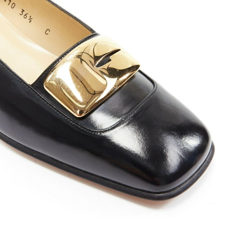 new GUCCI TOM FORD gold buckle polished gold leather square toe loafer EU36.5C  GUCCI BY TOM FORD Black polished leather upper. Gold-tone signature metal buckle. Tonal stitching. Square toe. Stacked wood block heel. Slip on loafer. Made in