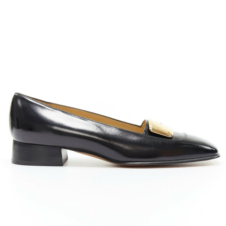 Black new GUCCI TOM FORD gold buckle polished gold leather square toe loafer EU36.5C For Sale