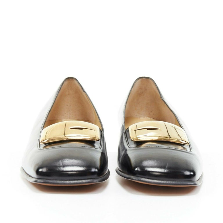 new GUCCI TOM FORD gold buckle polished gold leather square toe loafer EU36.5C In Good Condition For Sale In Hong Kong, NT