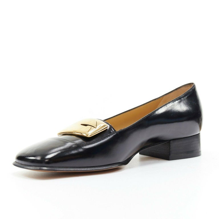 Women's new GUCCI TOM FORD gold buckle polished gold leather square toe loafer EU36.5C For Sale