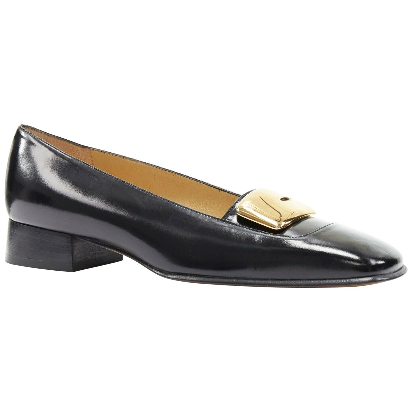 new GUCCI TOM FORD gold buckle polished gold leather square toe loafer EU36.5C