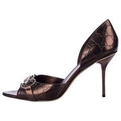 New Gucci Tom Ford Metallic Bronze Leather GG Runway Horsebit Heels Sz 10.5