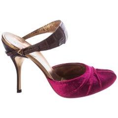 New Gucci Velvet and Crocodile Heels Mules Sz 8.5