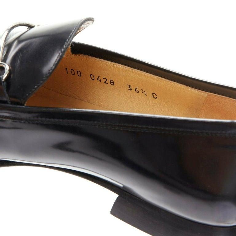 new GUCCI Vintage black leather silver minimal horsebit slip on loafer EU36.5C For Sale 5