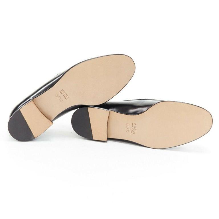 new GUCCI Vintage black leather silver minimal horsebit slip on loafer EU36.5C For Sale 7