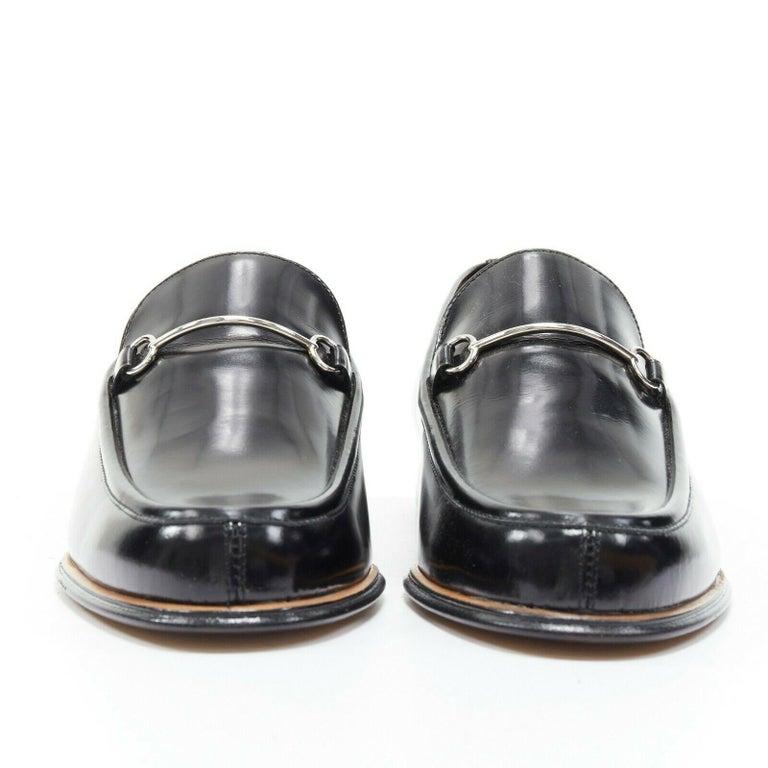 Black new GUCCI Vintage black leather silver minimal horsebit slip on loafer EU36.5C For Sale