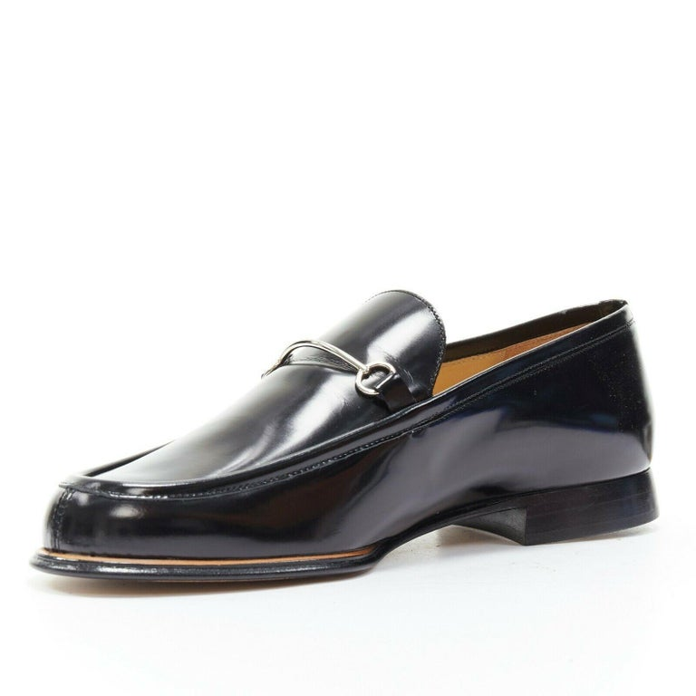 new GUCCI Vintage black leather silver minimal horsebit slip on loafer EU36.5C In Good Condition For Sale In Hong Kong, NT