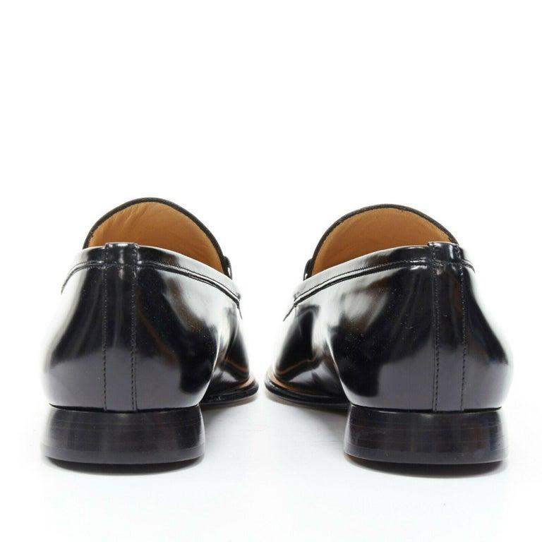 Women's new GUCCI Vintage black leather silver minimal horsebit slip on loafer EU36.5C For Sale