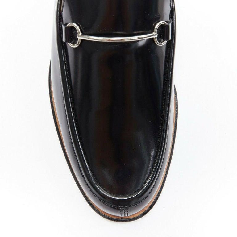 new GUCCI Vintage black leather silver minimal horsebit slip on loafer EU36.5C For Sale 1