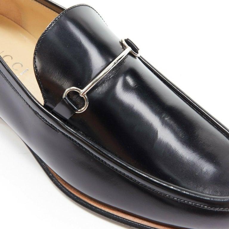 new GUCCI Vintage black leather silver minimal horsebit slip on loafer EU36.5C For Sale 2