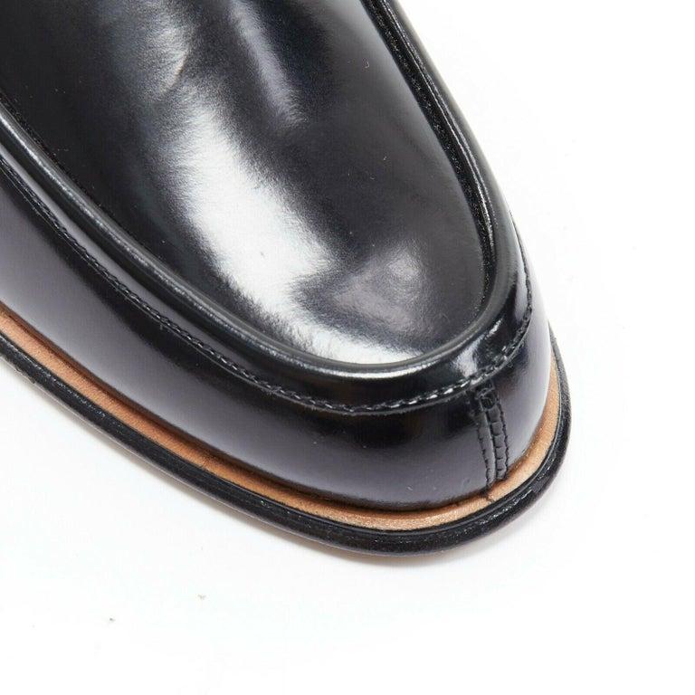 new GUCCI Vintage black leather silver minimal horsebit slip on loafer EU36.5C For Sale 3