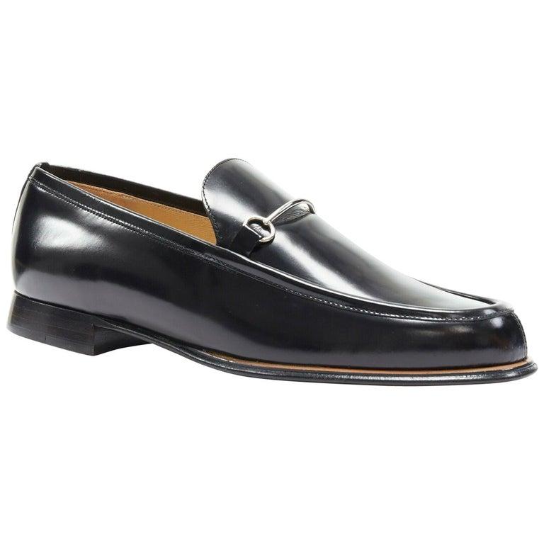 new GUCCI Vintage black leather silver minimal horsebit slip on loafer EU36.5C For Sale