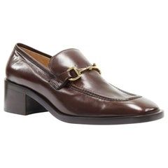 new GUCCI Vintage brown leather gold horsebit buckle square toe loafer EU36.5C