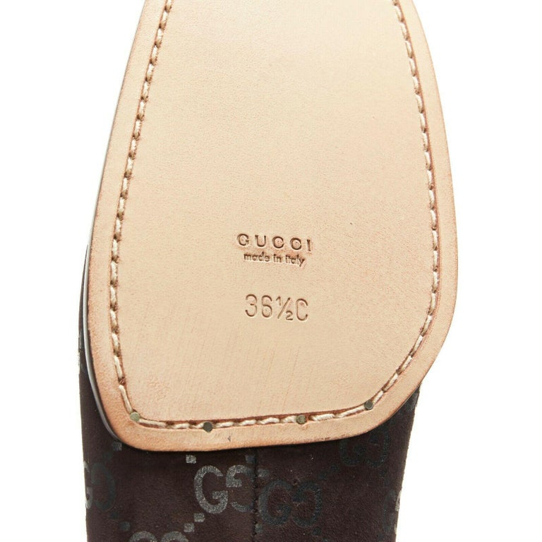 new GUCCI Vintage brown monogram printed black suede square toe loafer EU36.5C For Sale 6